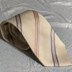 Luigi Borrelli Cream Blue Pink Stripe Tie 3 Fold